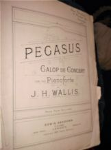 ANTIQUE ORIGINAL SHEET MUSIC 1894 PEGASUS GALOP DE CONCERT PIANO J. H. WALLIS